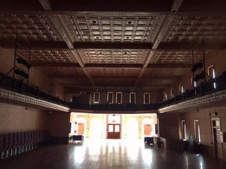 Pocahontas auditorium, empty, pressed tin