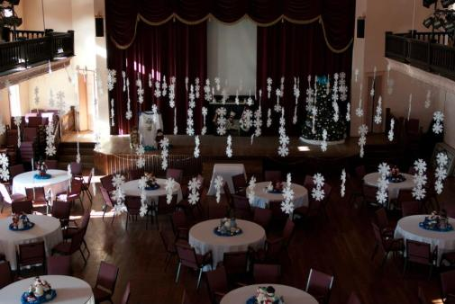 Pocahontas auditorium in banquet hall setup